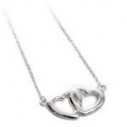 Double Interlocking Connected Open Hearts Necklace